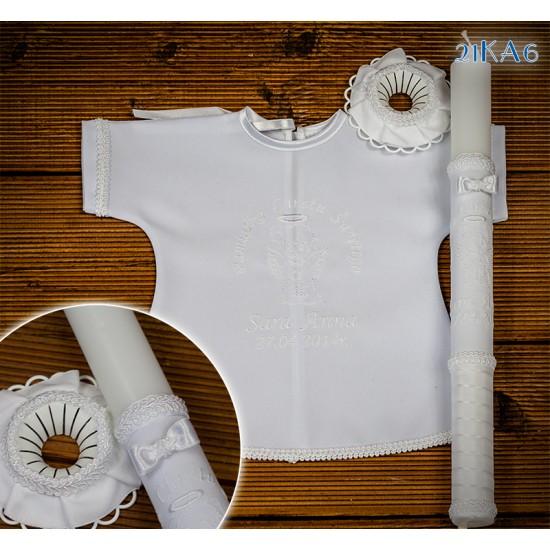 Szatka-koszulka i świeca do Chrztu Świętego, model 21KA6
