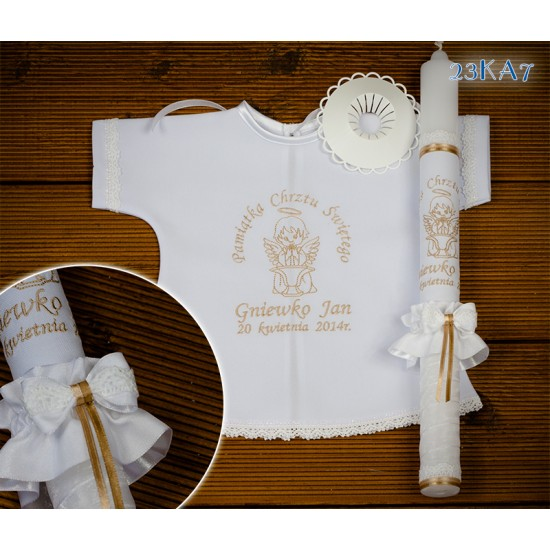 Szatka-koszulka i świeca do Chrztu Świętego, model 23KA7