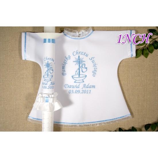 Szatka-koszulka i świeca do Chrztu Świętego, model 1NCH