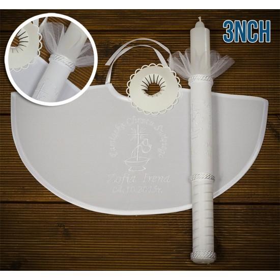 Szatka-pelerynka i świeca do Chrztu Świętego, model 3NCH