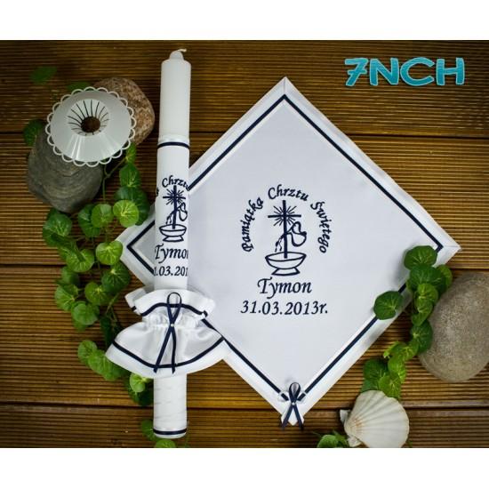 Szatka-kwadratowa i świeca do Chrztu Świętego, model 7NCH